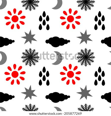 Seamless pattern with silhouettes clouds, rain drops, sun, snowflakes, stars, half moon. Endless print texture. Abstract repeating background. Wallpaper - raster version  - stock photo