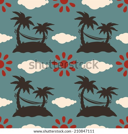 Seamless pattern with silhouettes coconut palm trees. Endless print silhouette texture. Summer. Hammock. Clouds. Sun. Retro. Vintage style - raster version - stock photo