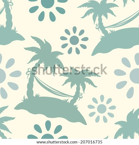 Seamless pattern with silhouettes coconut palm trees. Endless print texture. Summer. Hammock. Clouds. Sun - raster version - stock photo