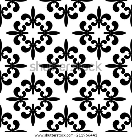 Seamless pattern with silhouettes royal lily flowers in black and white. Gothic monochrome background. Fleur-de-lys. Endless print texture -  raster version  - stock photo