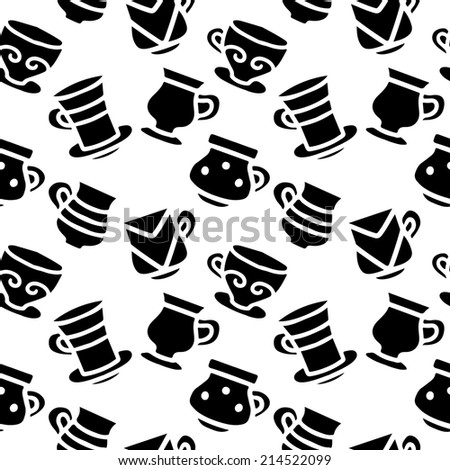 Seamless pattern with silhouettes tea cups, coffee cups in black and white. Repeating print monochrome background texture. Fabric design. Wallpaper - raster version - stock photo