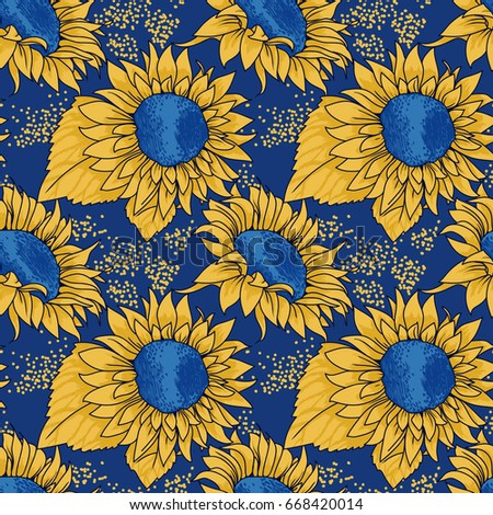 Seamless Pattern With Sketch Style Sunflowers Blue And Yellow Colors Illustration