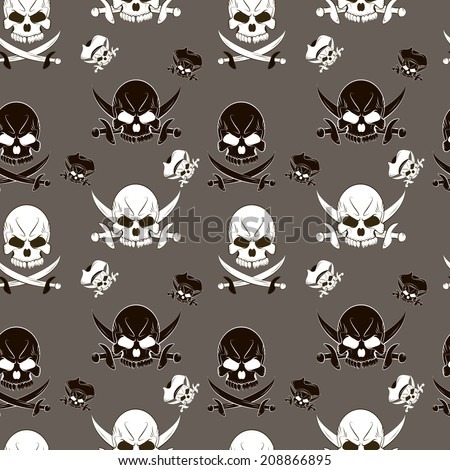 Seamless pattern with skulls and pirate sword gray background - stock photo