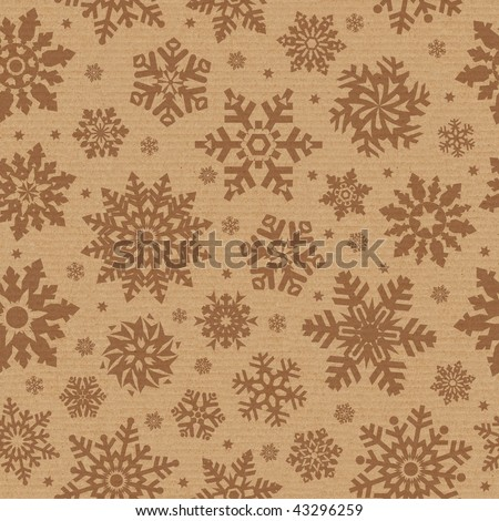 Seamless pattern with snowflake on packing cardboard background. - stock photo