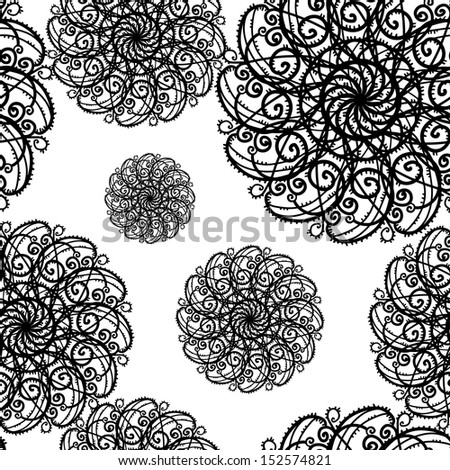 Seamless pattern with snowflakes - raster version - stock photo