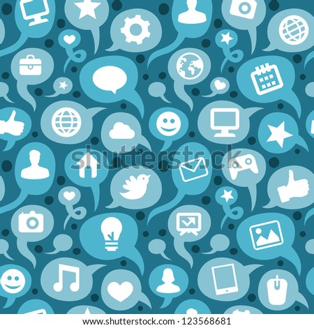 seamless pattern with social media icons - doodle background - raster illustration