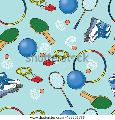 Seamless pattern with sport objects