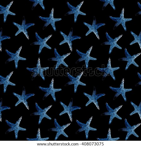 Seamless pattern with starfish on black background. Watercolor illustration on bright colors. - stock photo
