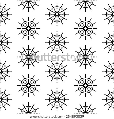 seamless pattern with steering wheels - stock photo