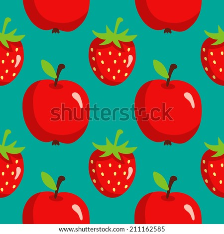 Seamless pattern with strawberries and apples on green background. Endless print texture. Food. Fruit. Berry. Simple. Cartoon hand drawing illustration. Fabric design. Wallpaper - raster version  - stock photo