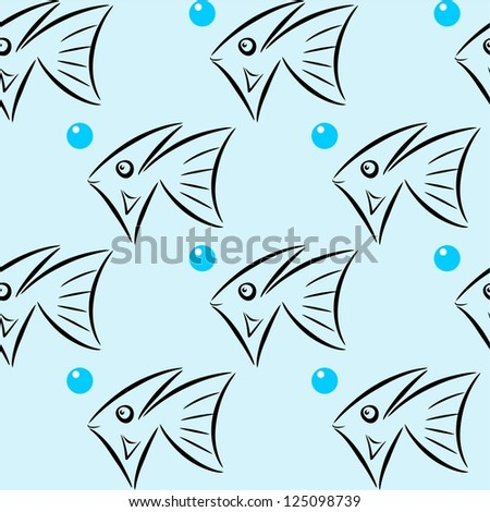 Seamless pattern with stylized fishes. Raster version - stock photo