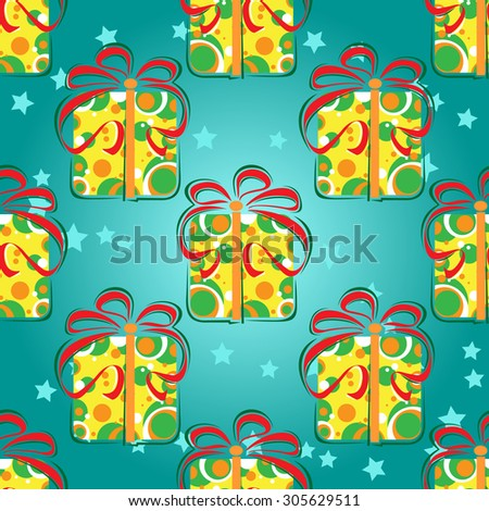 Seamless pattern with stylized gift boxes  on a blue background.