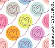 Seamless pattern with stylized linear hearts of stitching. Colorful polka dot background Valentines Day's, wedding. Romantic ornamental abstract decorative illustration for fabric, paper, web, print - stock photo