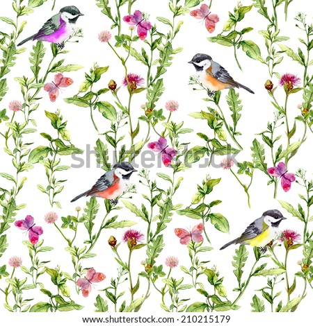 Seamless pattern with summer herbs and birds. Watercolor - stock photo