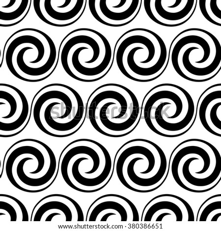 Seamless pattern with swirl element. Geometric vintage ornament. Black and white decorative illustration for print, web - stock photo