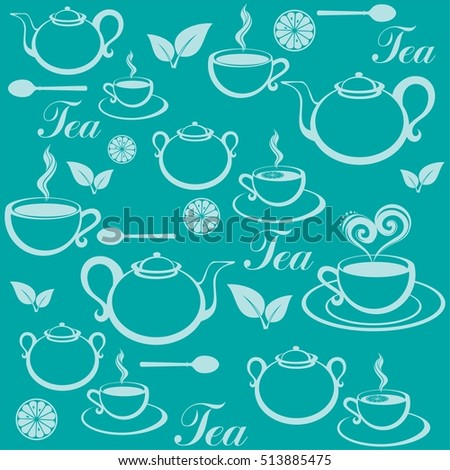 Seamless pattern with tea pots and tea cups.  Illustration