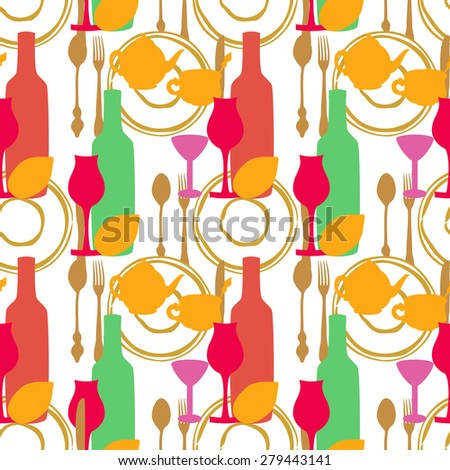 Seamless pattern with tea utensils,cutlery and wine glasses. - stock photo