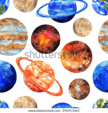 Seamless pattern with the planets of the Solar system on white background. Mercury, Venus, Earth, Mars, Jupiter, Saturn, Uranus, Neptune, Pluto. Watercolor illustration - stock photo