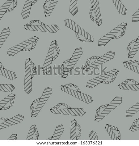 Seamless pattern with tie on a gray background. line drawing