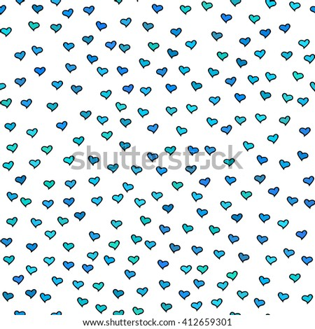 Seamless pattern with tiny blue and green hearts. Abstract repeating. Cute backdrop. White background. Template for Valentine's, Mother's Day,wedding, scrapbook, surface textures.  - stock photo