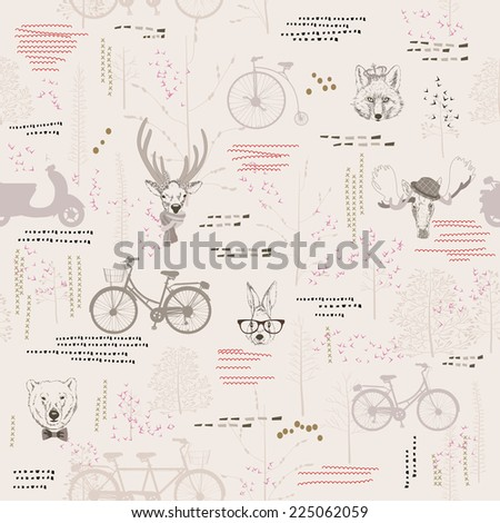 Seamless pattern with trees, shrubs, foliage, animals, deer, elk, rabbit, hare, fox, bear, on light background in vintage style. Background for fabric, scrapbooking, greeting cards in hipster style. - stock photo