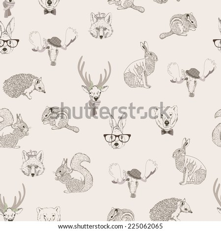Seamless pattern with trees, shrubs, foliage, animalsrabbit, hare, squirrel, deer, elk, squirrel, hedgehog, fox, bear, on light background in vintage style. Hand drawing. - stock photo