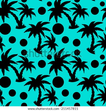 Seamless pattern with tropical coconut palm trees and circles in black and blue. Endless print silhouette texture. Beach background. Summer. Forest. Jungle -  raster version