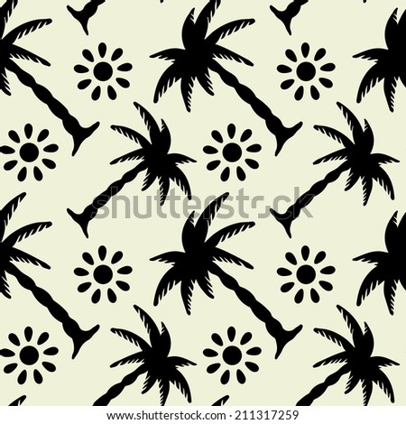 Seamless Pattern with Tropical Coconut Palm Trees and Sun. Black and White. Monochrome. Hammock. Summer. Endless Print Silhouette Texture. Forest. Tropic. Retro. Vintage style - raster version - stock photo