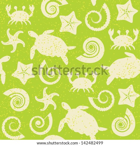 Seamless pattern with turtles, crabs, stars and shells. Raster version. - stock photo