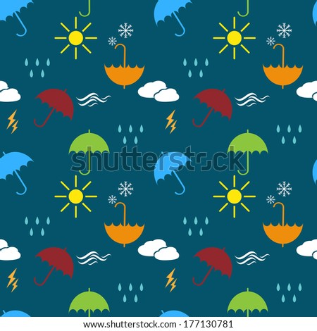 seamless pattern with umbrella and forces of nature silhouettes raster version - stock photo