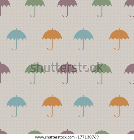 seamless pattern with umbrella silhouettes on the vintage dotted background raster version - stock photo