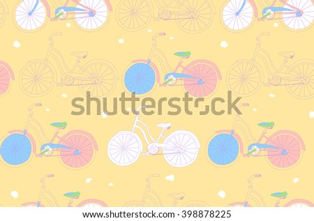Seamless pattern with vintage bicycles. Can be used for graphic design, as well as the Wallpaper or a print on textile. Raster version - stock photo