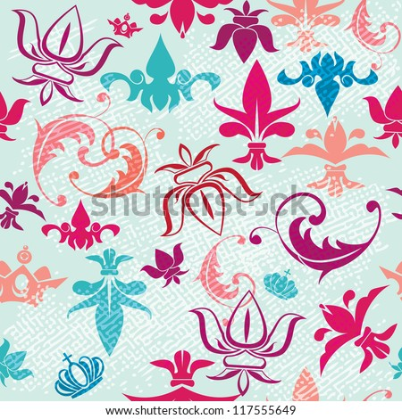 Seamless pattern with vintage heraldic silhouettes elements - icons of crowns and fleur de lis. Raster version - stock photo