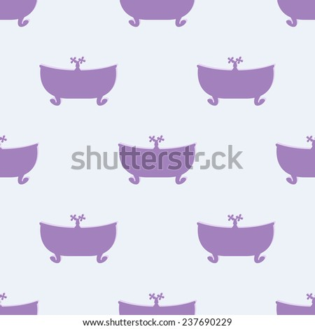 Seamless pattern with violet bathtub with tap on lilac background. For textile, wrapping paper, boxes decoration, other packing elements - stock photo