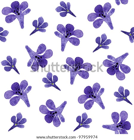 Seamless pattern with violet flowers - stock photo