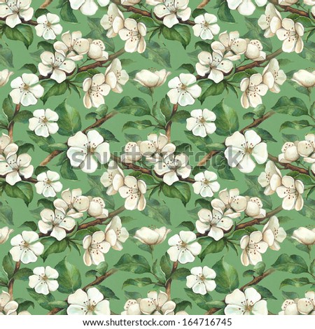 Seamless pattern with watercolor apple flowers - stock photo