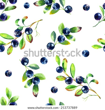 Seamless pattern with watercolor blueberries indigo - stock photo