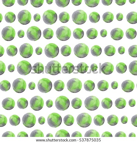 Seamless pattern with watercolor circles. Handpainted bubbles