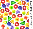 Seamless pattern with watercolor circles, squares, triangles, ellipses. Repeating backdrop with different geometric shapes. Hand drawing endless illustration, texture. Design for wallpapers, textiles. - stock photo