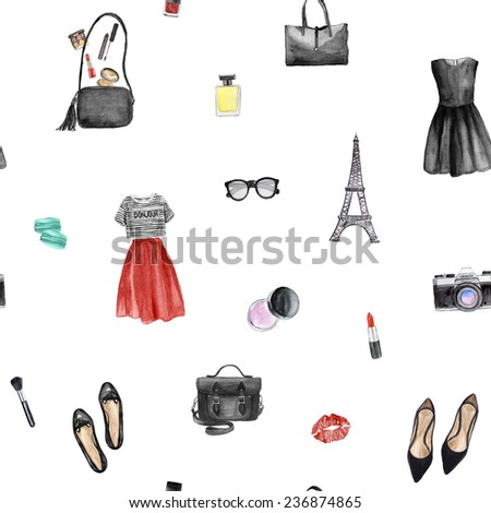 Seamless pattern with watercolor clothing illustration. Fashion design. - stock photo