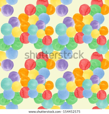 Seamless pattern with watercolor colored circles