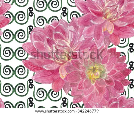 Seamless pattern with watercolor dahlias flowers. Floral background, wallpaper. Elegance pattern with realistic red flowers. Vintage illustration - stock photo