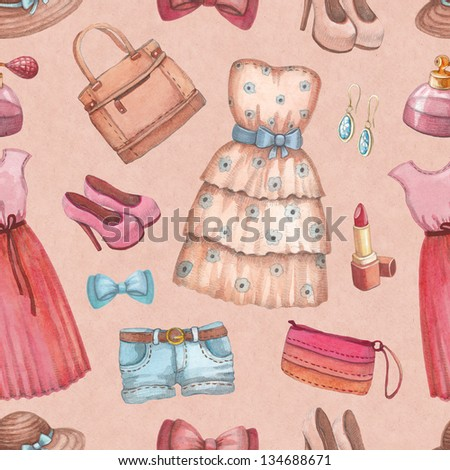 Seamless pattern with watercolor dresses and accessories - stock photo