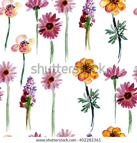 Seamless pattern with watercolor field flowers. - stock photo