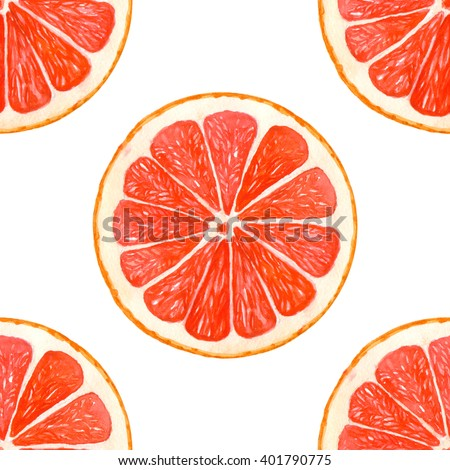 Seamless pattern with watercolor grapefruit on a white background. Orange citrus pattern for your design