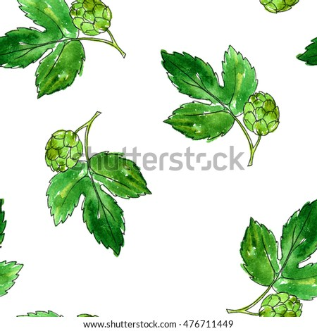 seamless pattern with watercolor green hop leaves , background with raw materials for brewery, nature template,floral ornament, hand drawn illustration