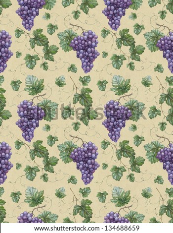 Seamless pattern with watercolor illustration of grapes with leaves - stock photo