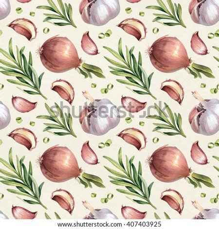 Seamless pattern with watercolor illustrations of onion, garlic and rosemary
