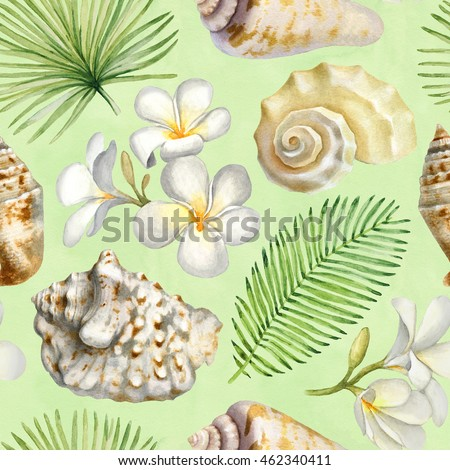 Seamless pattern with watercolor illustrations of shells and palm leaves