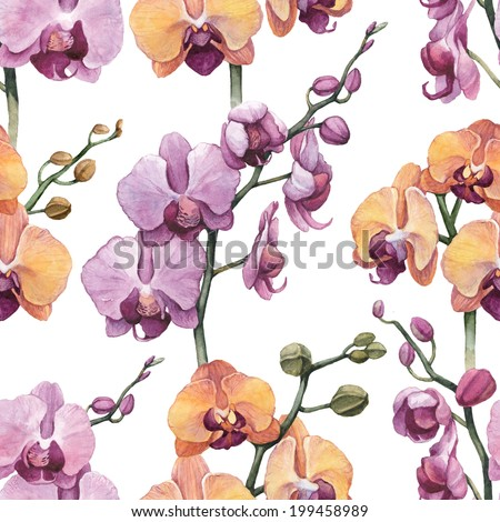 Seamless pattern with watercolor orchid flowers  - stock photo